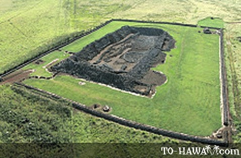 Aerial view of Mookini Heiau