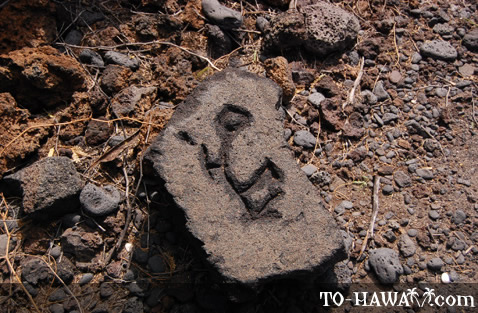 Hawaiian rock carving