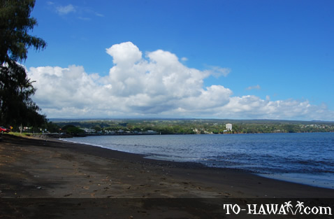 Black-sand beach in Hilo