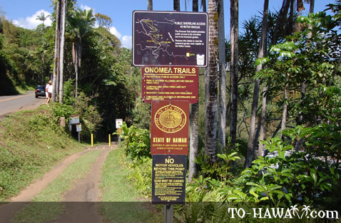 Onomea Trails info sign