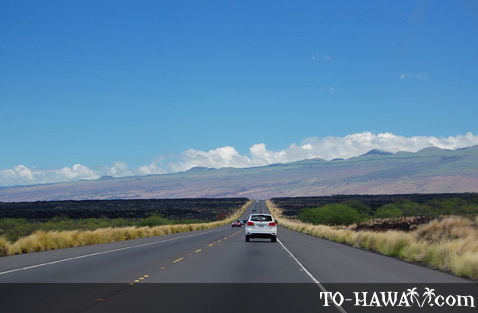 Highway cuts through lava fields