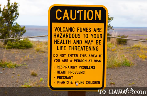 Volcanic fumes danger sign