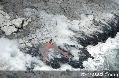 Lava meets the ocean