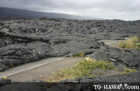 Recent lava flow covering street
