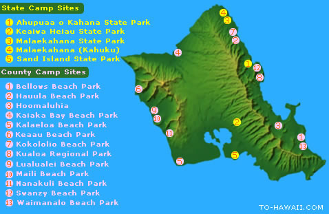 Oahu Camping and Campgrounds - To-Hawaii.com