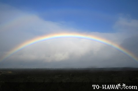 Rainbow above Kilauea lava fields, Big Island