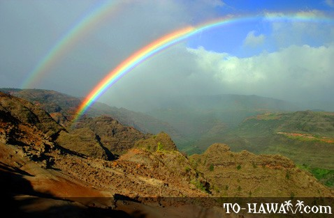 Waimea Canyon double rainbow, Kauai