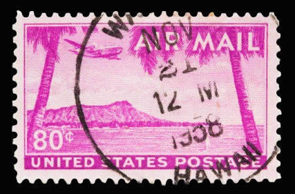 A 1959 Issued 7 Cent United States Airmail Postage Stamp Showing Hawaii Statehood