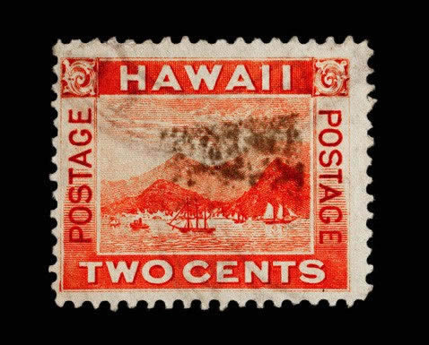 Two Postage Stamps From The Republic Of Hawaii Depicting Port Honolulu Circa 1893 1894