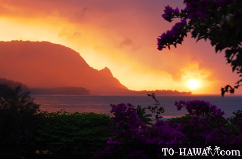 Beautiful Kauai sunset over Hanalei Bay