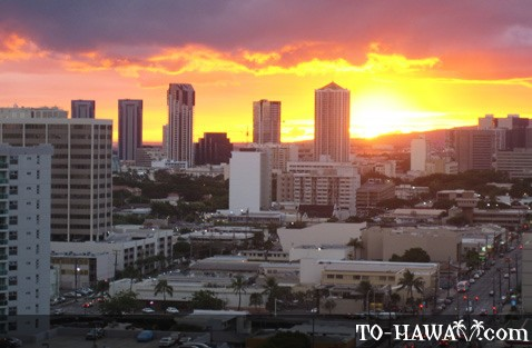Honolulu City sunset