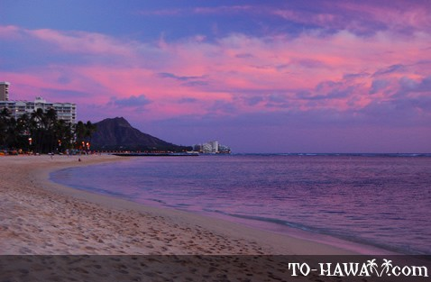 Purple sunset over Diamond Head