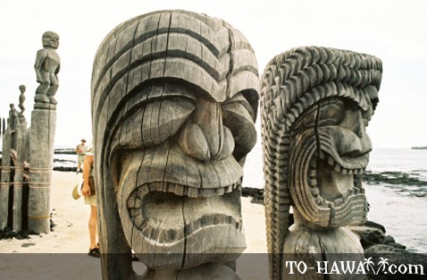 Scary-looking tiki heads