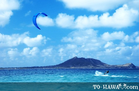 Kitesurfing at Kailua Beach, Oahu