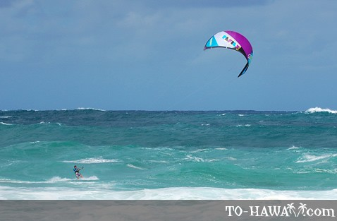 Kitesurfing at Waimea Bay, Oahu