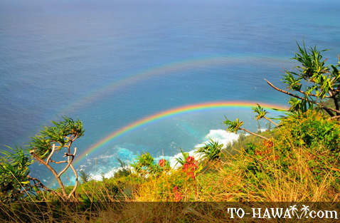 Double rainbow on Kalalau Trail