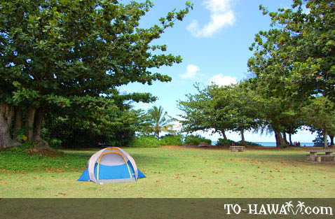 Camping at Anini Beach Park