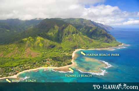 Aerial of Ha'ena and neighboring beaches