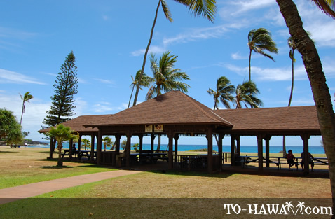Picnic pavilion at Po'ipu Beach Park
