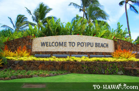 Welcome sign in Po'ipu