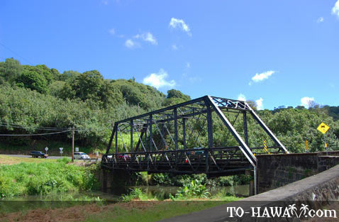 One-lane bridge near Hanalei