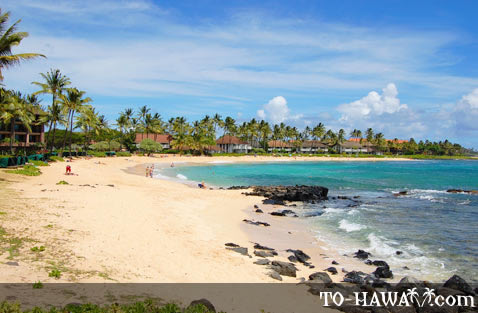 White-sand beach in Po'ipu