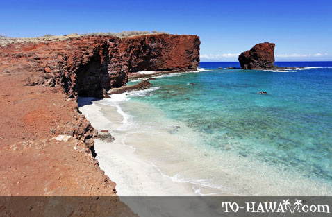 Small white sand beach on Lanai