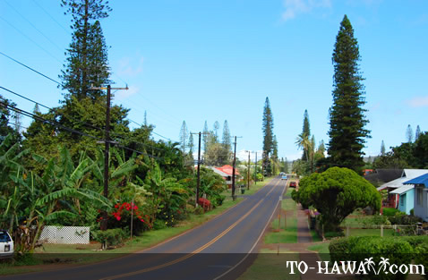The main street in Lanai City