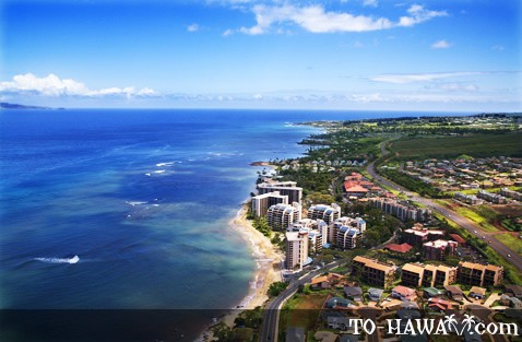 Aerial view of Kahana Beach