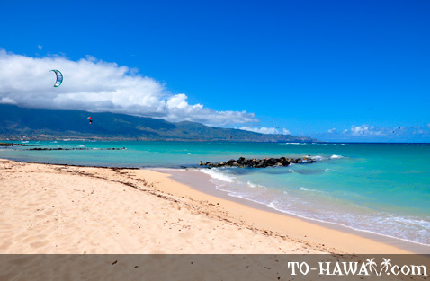 Popular Maui kitesurfing beach