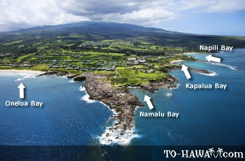 Aerial of Kapalua and neighboring beaches