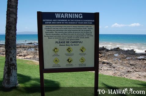 Beach warning signs