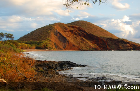 Pu'u Ola'i at sunset