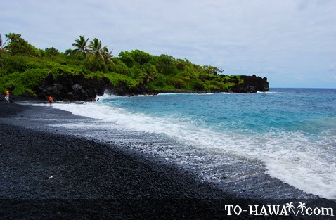 Black sand of volcanic origin