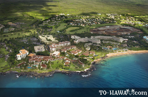 Aerial of Wailea resort area and beach