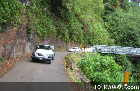 Narrow stretch along Hana Highway