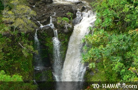 Top portion of Lower Puohokamoa Falls