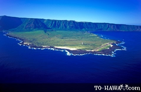 Aerial view of the Kalaupapa Peninsula
