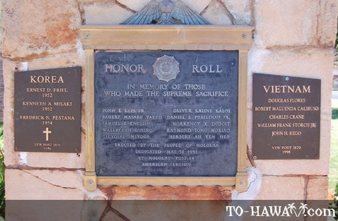 Molokai War Memorial close-up view