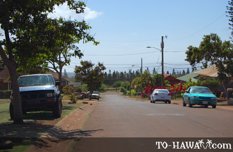 Street in Maunaloa on Molokai