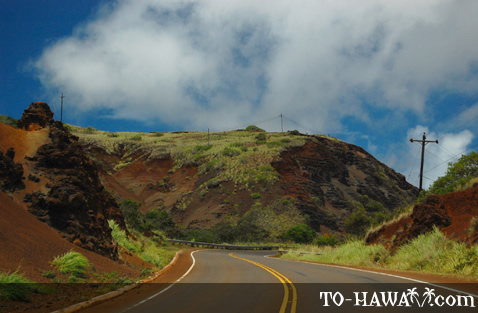 Scenic and winding road on Molokai