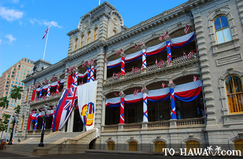 Decorated with Hawaiian flags