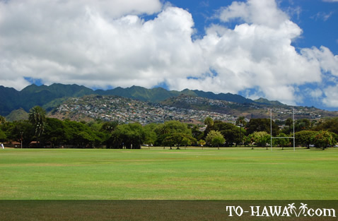 Large park overlooking Honolulu