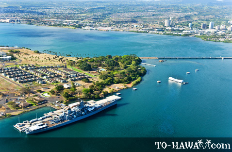 Aerial view of Pearl Harbor