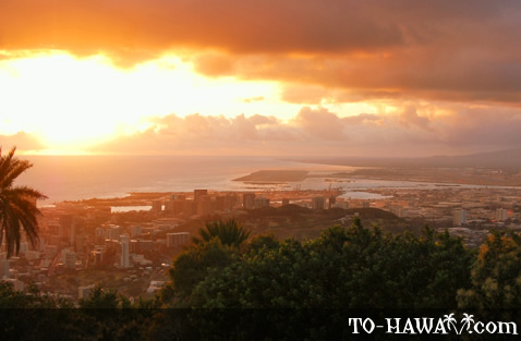 View to Punchbowl and Honolulu Airport