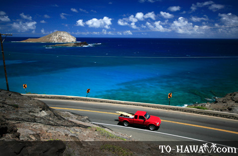 Scenic road on Oahu's south shore