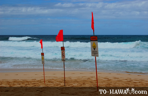 Warning flags on the beach