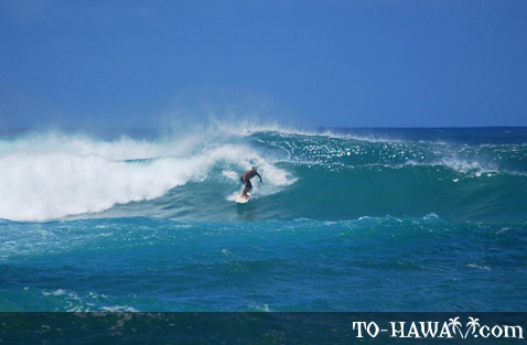 Surfing on North Shore of Oahu