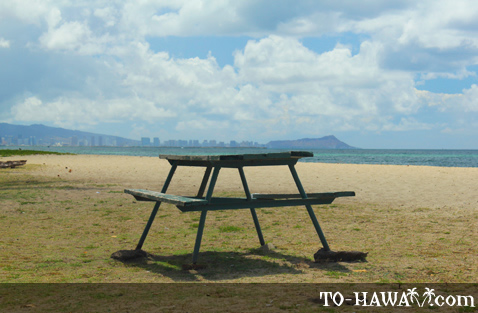 Beachfront picnic table