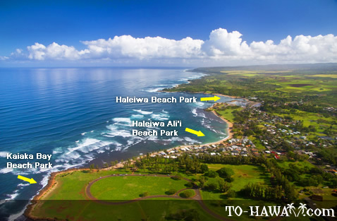 Haleiwa beaches aerial view